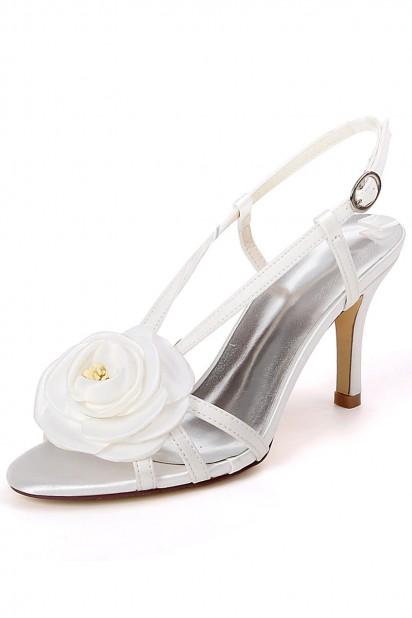 Sandale fleurie pour mariage bleu roi à talon moyen