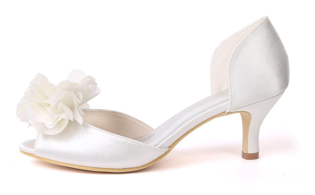 chaussures femme blanc ivoire pour mariage petit talon confortable pas cher