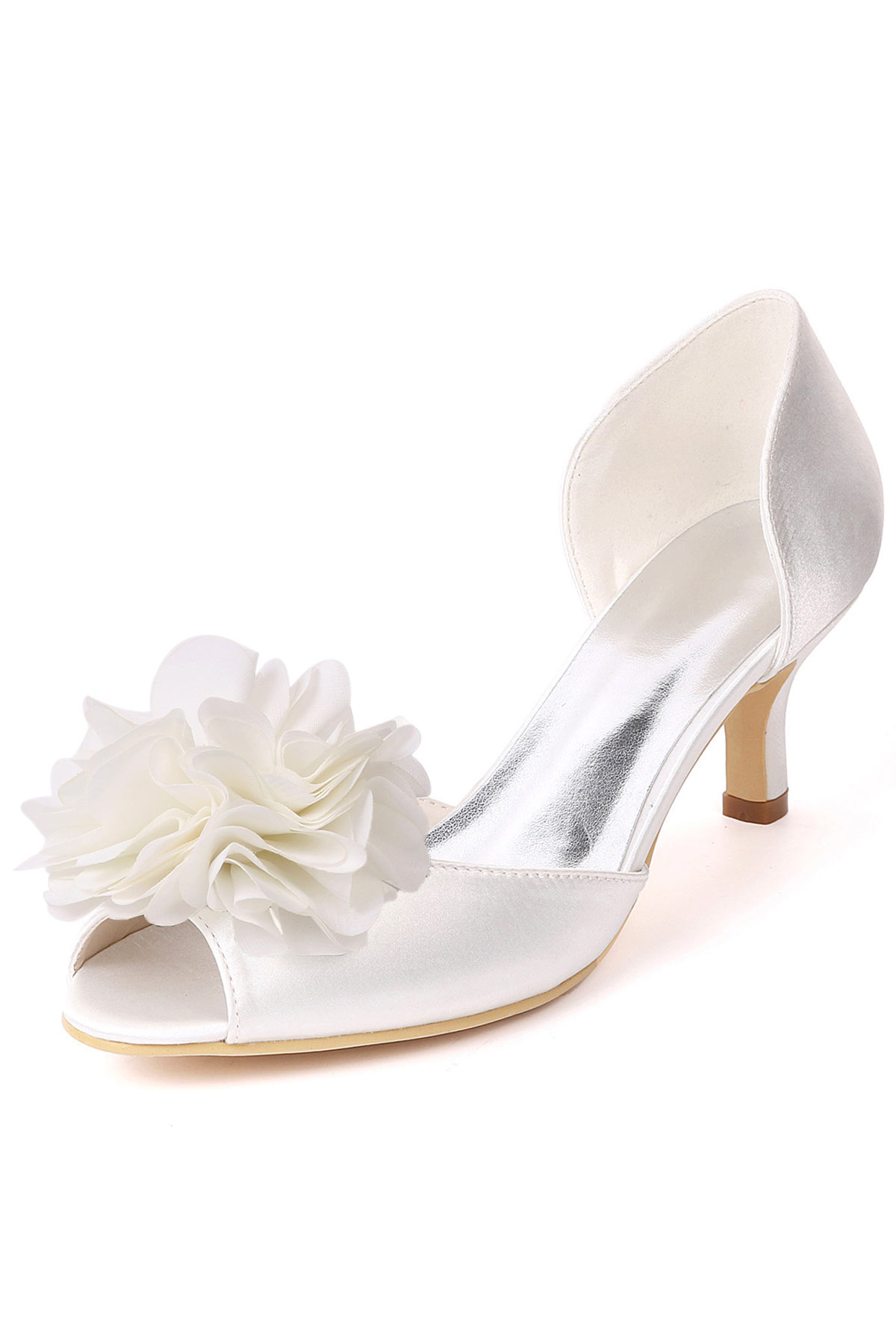 Chaussures de mariage ivoire à petit talon bout ouvert fleuri