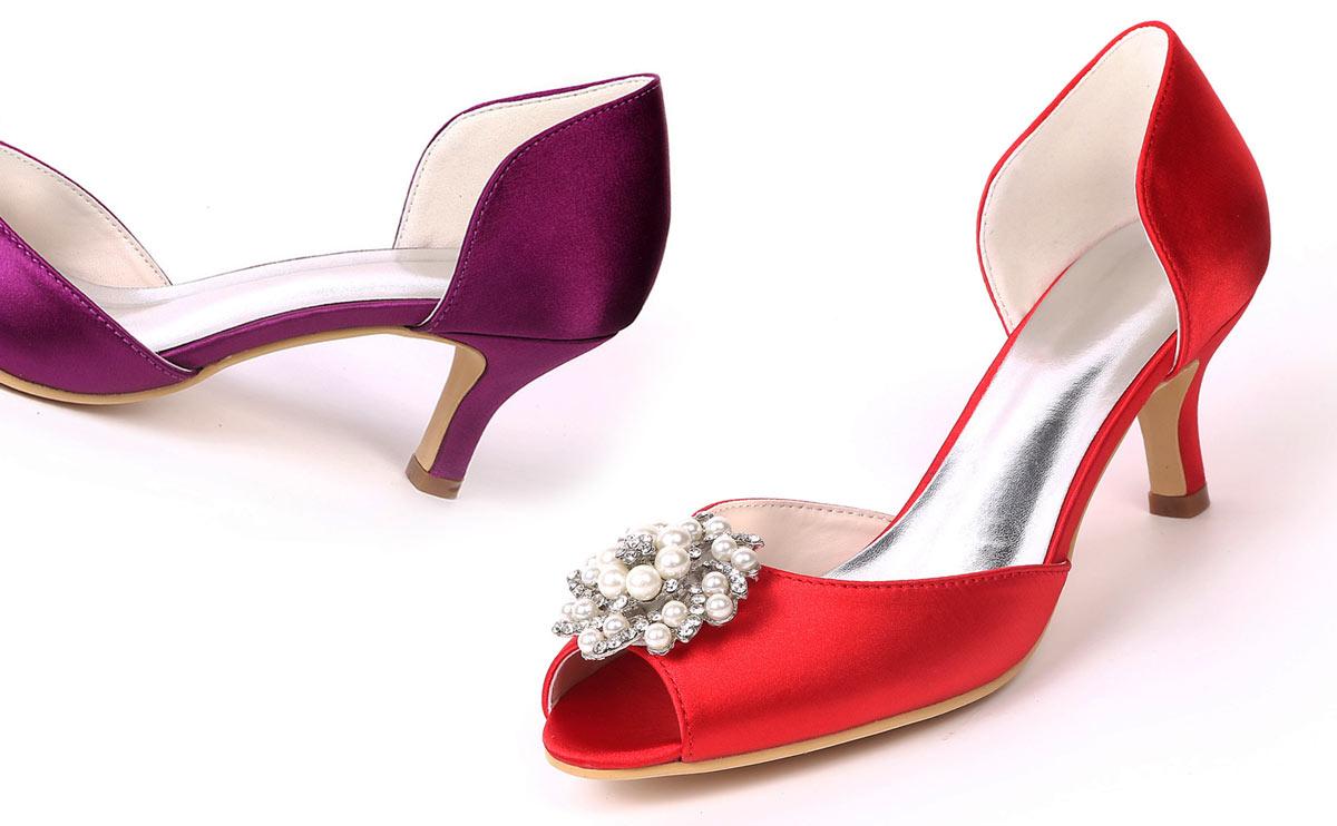 chaussures pour soirée mariage peep toe talon bas rouge prune