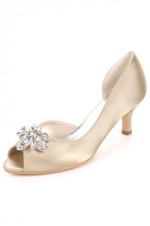 Chaussures pour mariage champagne asymétrique à petit talon