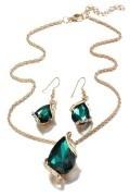 Collier + boucle d'oreilles vert émeraude asymétrique