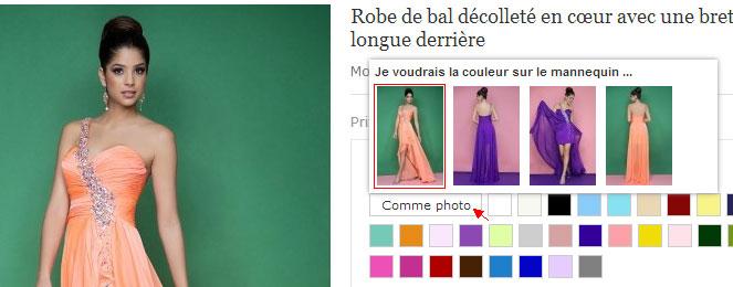 robe habillée pour fête et choisir la couleur sur le mannequin sur persun.fr